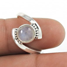 Natural RAINBOW MOONSTONE HANDMADE 925 Solid Sterling Silver Ring Size 6 YS5