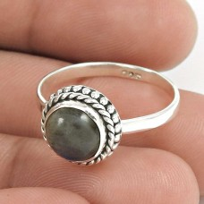 Natural LABRADORITE HANDMADE Jewelry 925 Solid Sterling Silver Ring Size 8 RR1