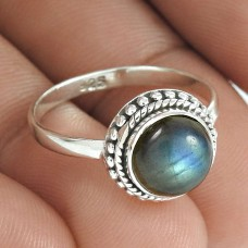 HANDMADE 925 Solid Sterling Silver Jewelry Natural LABRADORITE Ring Size 7 AA2