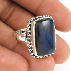 HANDMADE 925 Solid Sterling Silver Jewelry Natural LABRADORITE Ring Size 7 GT68