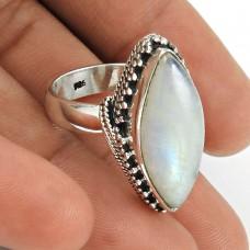 HANDMADE 925 Solid Sterling Silver Natural RAINBOW MOONSTONE Ring Size 6 KI69