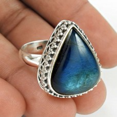 Natural LABRADORITE Ring Size 8 925 Solid Sterling Silver HANDMADE Jewelry NW76