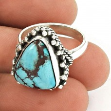 Turquoise Gemstone Ring 925 Sterling Silver Vintage Jewelry TG47