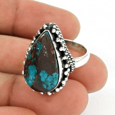 Turquoise Gemstone Ring 925 Sterling Silver Traditional Jewelry YH47