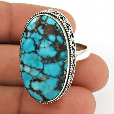 Turquoise Gemstone Ring 925 Sterling Silver Ethnic Jewelry PL48