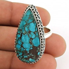 Turquoise Gemstone Ring 925 Sterling Silver Vintage Look Jewelry ED50