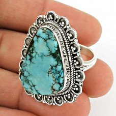 Turquoise Gemstone Ring 925 Sterling Silver Vintage Look Jewelry PH51