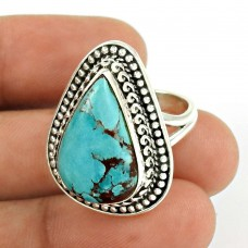 Turquoise Gemstone Ring 925 Sterling Silver Vintage Look Jewelry AZ52