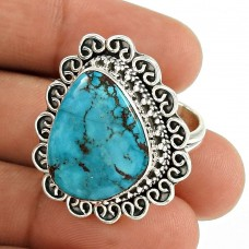 Turquoise Gemstone Ring 925 Sterling Silver Traditional Jewelry RF53