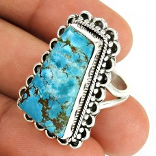 Turquoise Gemstone Ring 925 Sterling Silver Stylish Jewelry UJ53