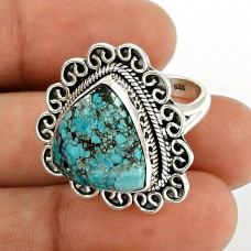 Turquoise Gemstone Ring 925 Sterling Silver Traditional Jewelry PL54