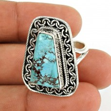 Turquoise Gemstone Ring 925 Sterling Silver Tribal Jewelry RF54