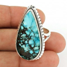 Turquoise Gemstone Ring 925 Sterling Silver Vintage Jewelry YH54