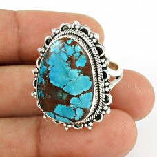 Turquoise Gemstone Ring 925 Sterling Silver Stylish Jewelry PH55