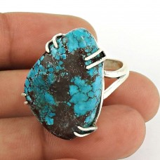 Turquoise Gemstone Ring 925 Sterling Silver Tribal Jewelry PL55