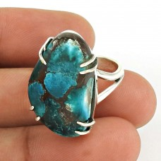 Turquoise Gemstone Ring 925 Sterling Silver Vintage Jewelry WS55