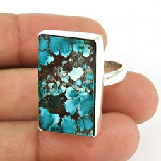 Turquoise Gemstone Ring 925 Sterling Silver Tribal Jewelry UJ55