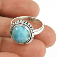 Larimar Gemstone Ring 925 Sterling Silver Tribal Jewelry ED56