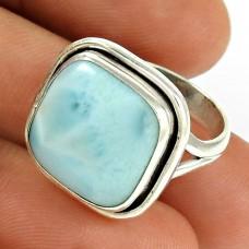 Larimar Gemstone Ring 925 Sterling Silver Vintage Jewelry RF58