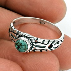 Turquoise Gemstone Ring 925 Sterling Silver Tribal Jewelry TG66