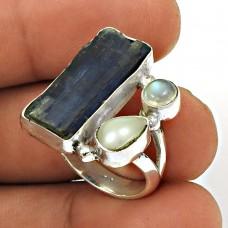 Kyanite Pearl Rainbow Moonstone Ring Size 8 925 Sterling Silver Vintage Look Jewelry RN5