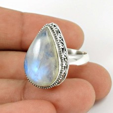Rainbow Moonstone Ring Size 7 925 Sterling Silver Ethnic Jewelry RN36