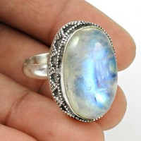 Rainbow Moonstone Ring Size 8.5 925 Sterling Silver Vintage Look Jewelry RN48