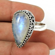 Rainbow Moonstone Ring Size 7.5 Solid 925 Sterling Silver Traditional Jewelry RN60