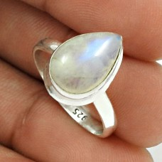 Rainbow Moonstone Ring Size 7 Solid 925 Sterling Silver Vintage Look Jewelry RN62
