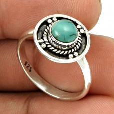 Turquoise Gemstone Ring Size 7.5 Solid 925 Sterling Silver Stylish Jewelry RN91