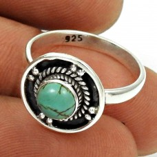Turquoise Gemstone Ring Size 6 Solid 925 Sterling Silver Vintage Look Jewelry RN90