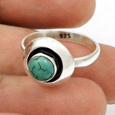 Turquoise Gemstone Ring Size 6 925 Sterling Silver Ethnic Jewelry SN46