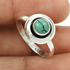 Turquoise Gemstone Ring Size 8.5 925 Sterling Silver Traditional Jewelry SN45