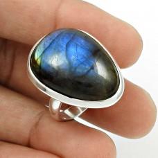 Labradorite Gemstone Ring Size 7.5 925 Sterling Silver Ethnic Jewelry SN99