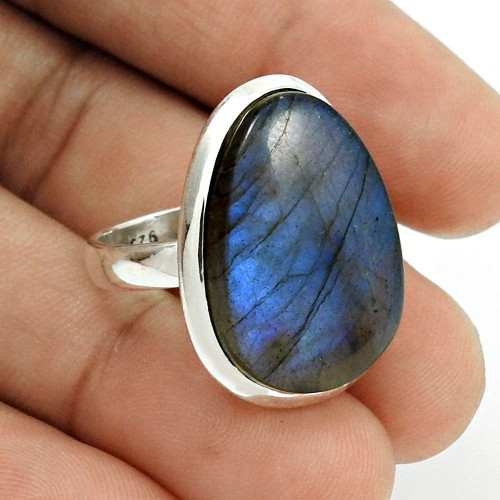 Labradorite Gemstone Ring Size 6 925 Sterling Silver Traditional Jewelry CB2