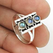 Labradorite Gemstone Ring Size 7 925 Sterling Silver Vintage Look Jewelry CB18
