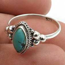 Turquoise Gemstone Ring 925 Sterling Silver Indian Handmade Jewelry W82