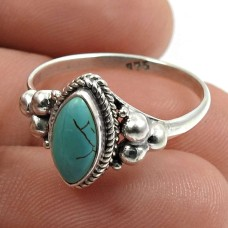 Turquoise Gemstone Ring 925 Sterling Silver Handmade Indian Jewelry X82