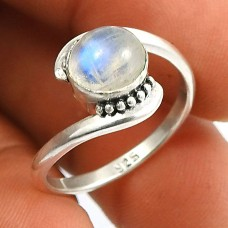 Rainbow Moonstone Gemstone Ring 925 Sterling Silver Indian Handmade Jewelry Q3