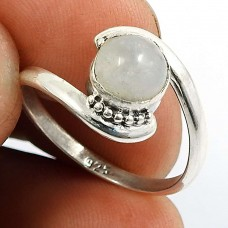 Rainbow Moonstone Gemstone Ring 925 Sterling Silver Handmade Indian Jewelry R83