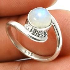 Rainbow Moonstone Gemstone Ring 925 Sterling Silver Handmade Indian Jewelry B84