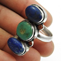 Lapis Lazuli Turquoise Coral Gemstone Ring 925 Sterling Silver Indian Handmade Jewelry Q3