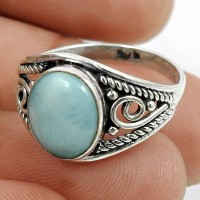Larimar Gemstone Ring 925 Sterling Silver Tribal Jewelry F26