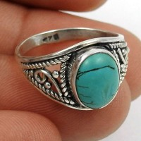 Turquoise Gemstone Ring 925 Sterling Silver Indian Handmade Jewelry M27