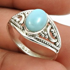 Larimar Gemstone Ring 925 Sterling Silver Indian Jewelry D30