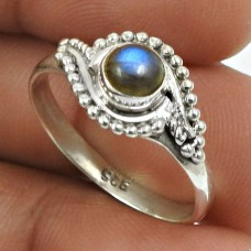 Labradorite Gemstone Ring 925 Sterling Silver Indian Jewelry H31