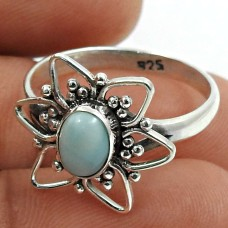 Larimar Gemstone Ring 925 Sterling Silver Indian Handmade Jewelry Q1