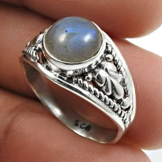 Labradorite Gemstone Ring 925 Sterling Silver Indian Jewelry X35