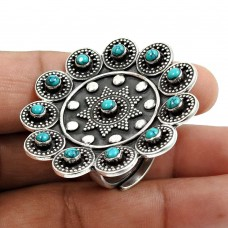 Turquoise Gemstone Artisan Ring 925 Sterling Silver Oxidized Jewelry I39