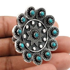 Turquoise Gemstone Ring Oxidized 925 Sterling Silver Indian Jewelry J39